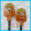 2 Piece Silly Pumpkins Pencil Topper Set