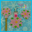 Poinsettia Feltie, Pencil Topper, Snap Tab Bundle