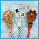 3 Piece Bobble Head Christmas Pencil Topper Set