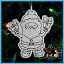 Santa's Antics 1 Color Me Ornament Redwork