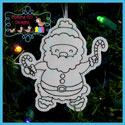 Santa's Antics 2 Color Me Ornament Redwork