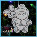 Santa's Antics 5 Color Me Ornament Redwork