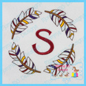 Four Feather Monogram Frame Embroidery File
