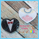 Bride and Groom Hearts Feltie Set