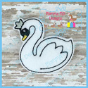 Swan With Crown Feltie