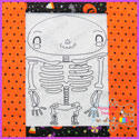 Mr Bones Skeleton Vintage Stitch Redwork