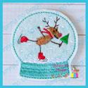 Snow Globe 2 Feltie - Skating Reindeer