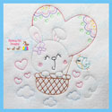 Bunny Hot Air Balloon Vintage Stitch Embroidery