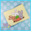 Three Bunnies With Carrot Applique