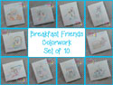Breakfast Friends - Redwork and Colorwork BUNDLE